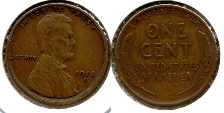 1918-S Lincoln Cent EF-45 a