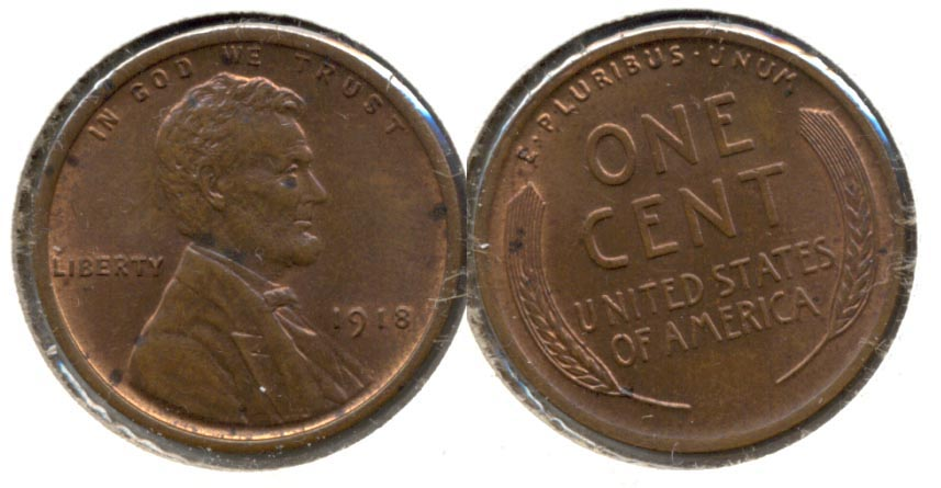 1918 Lincoln Cent MS-60 Brown