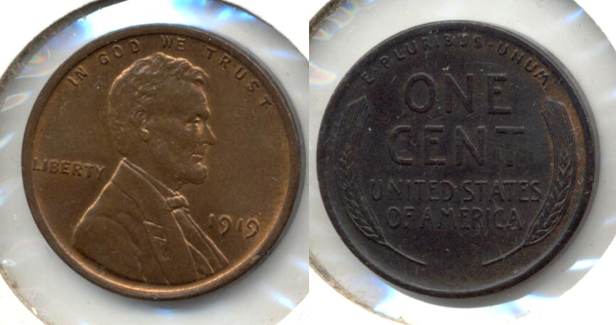 1919 Lincoln Cent MS-60 Brown a