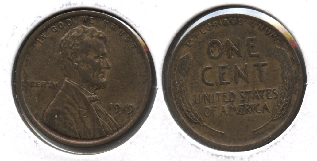 1919 Lincoln Cent MS-60 Brown #b
