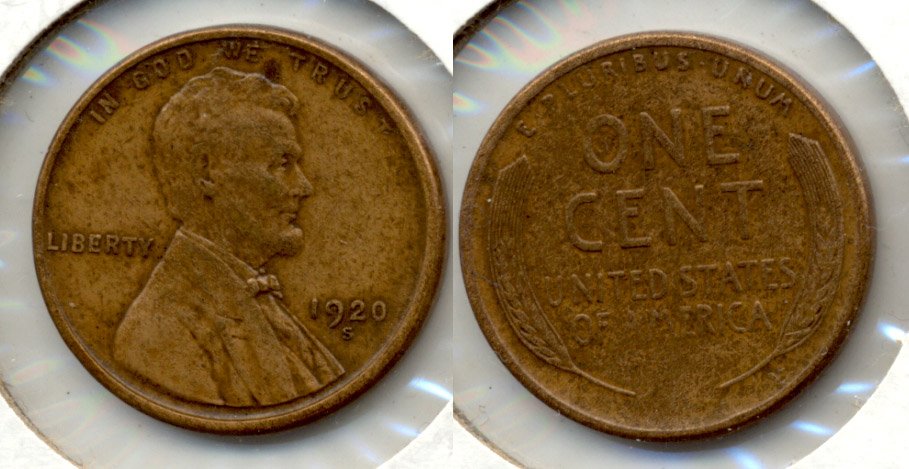 1920-S Lincoln Cent EF-40 f