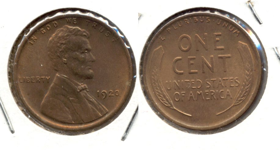 1920 Lincoln Cent MS-63 Red Brown a