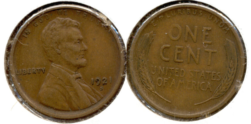 1921-S Lincoln Cent EF-40 a