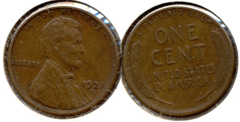 1921-S Lincoln Cent EF-40 b