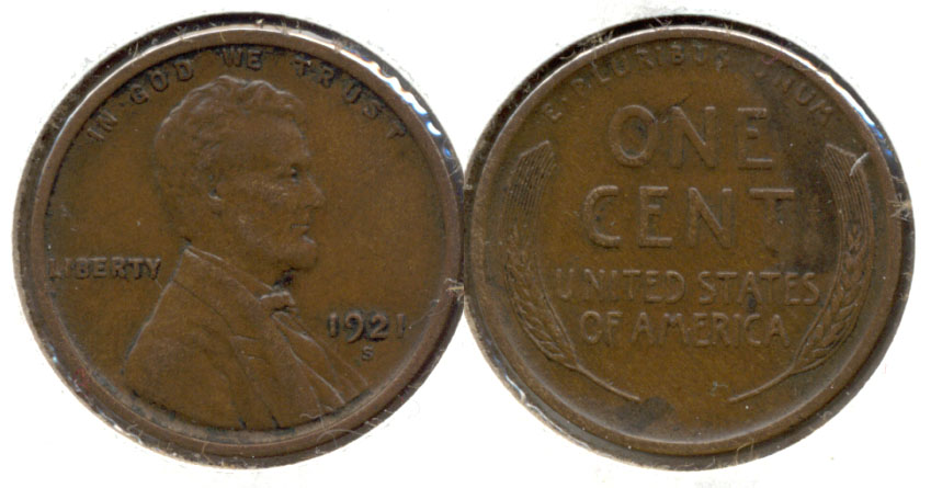 1921-S Lincoln Cent EF-40 d