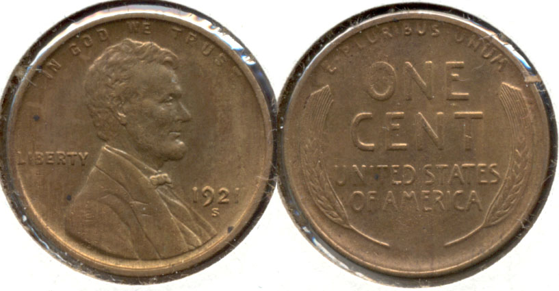 1921-S Lincoln Cent MS-63 Red Brown