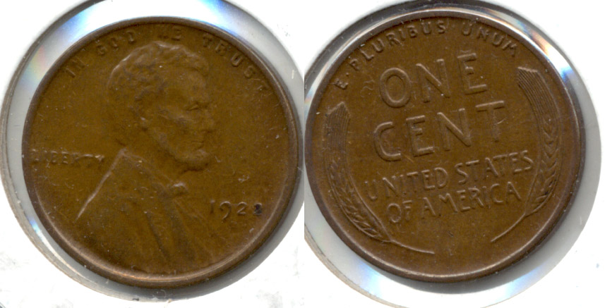 1922-D Lincoln Cent AU-55 a Weak D Variety