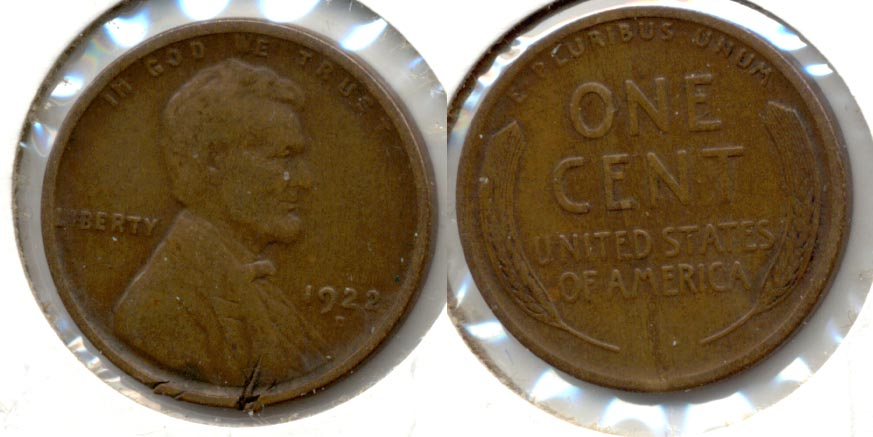 1922-D Lincoln Cent F-12 c Obverse Nicks