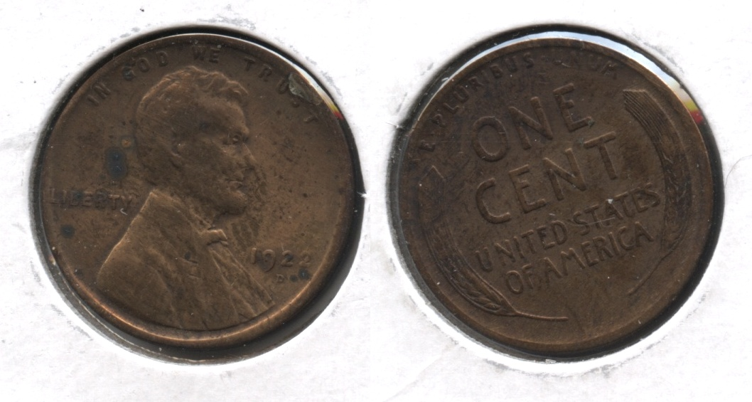 1922-D Lincoln Cent F-12 #l Cleaned
