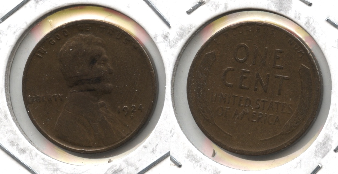 1924-D Lincoln Cent VG-8 #o Cleaned Retoned