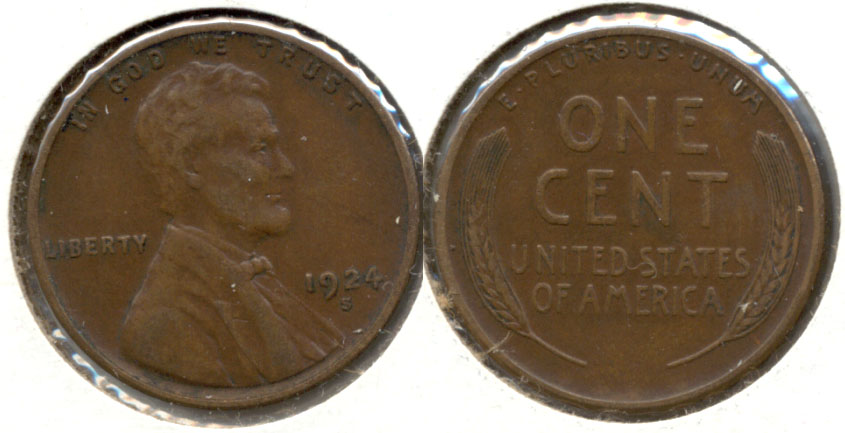 1924-S Lincoln Cent EF-40 a