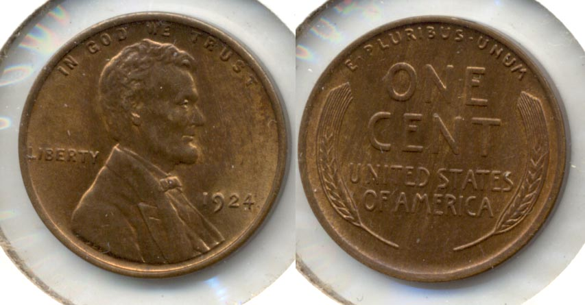 1924 Lincoln Cent MS-63 Red Brown
