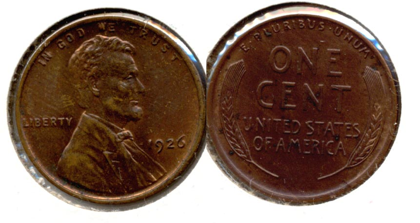 1926 Lincoln Cent MS-63 Brown a Verdigris