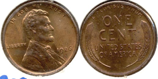 1926 Lincoln Cent MS-63 Red Brown b
