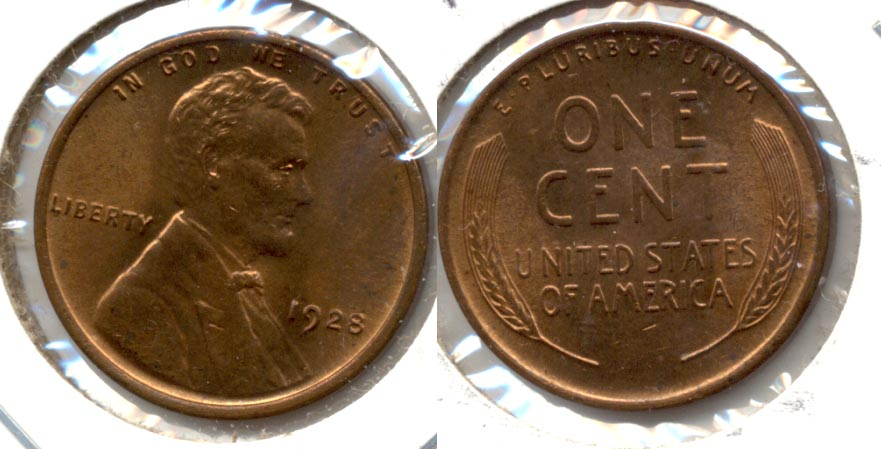 1928 Lincoln Cent MS-63 Red Brown