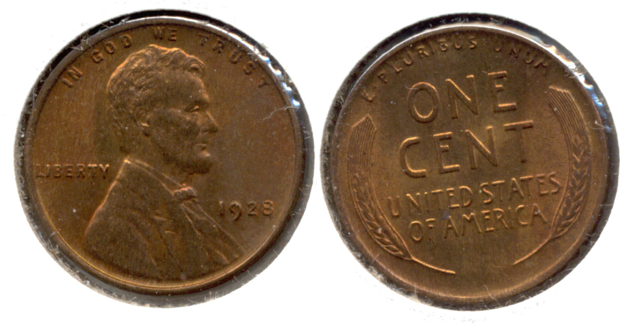 1928 Lincoln Cent MS-63 Red Brown b