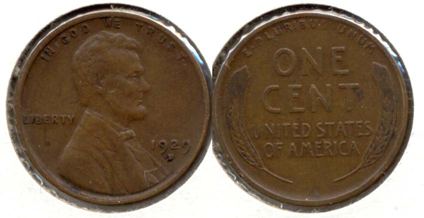 1929-D Lincoln Cent EF-40 f