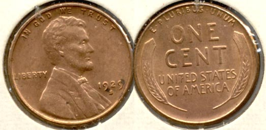 1929-S Lincoln Cent MS-60 Red Brown a
