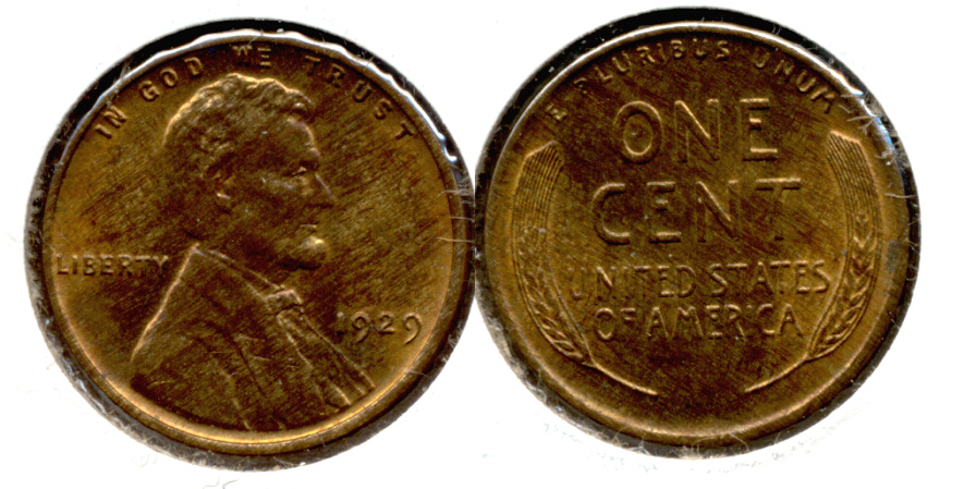 1929 Lincoln Cent MS-64 Red Brown b