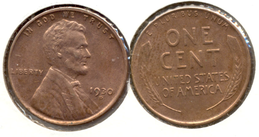 1930-D Lincoln Cent MS-63 Red Brown