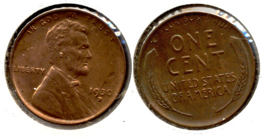 1930-D Lincoln Cent MS-63 Red Brown a