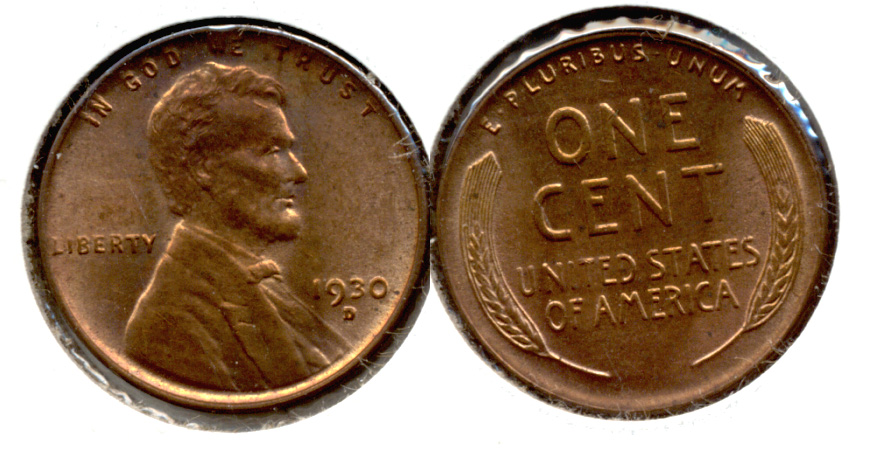 1930-D Lincoln Cent MS-63 Red Brown b