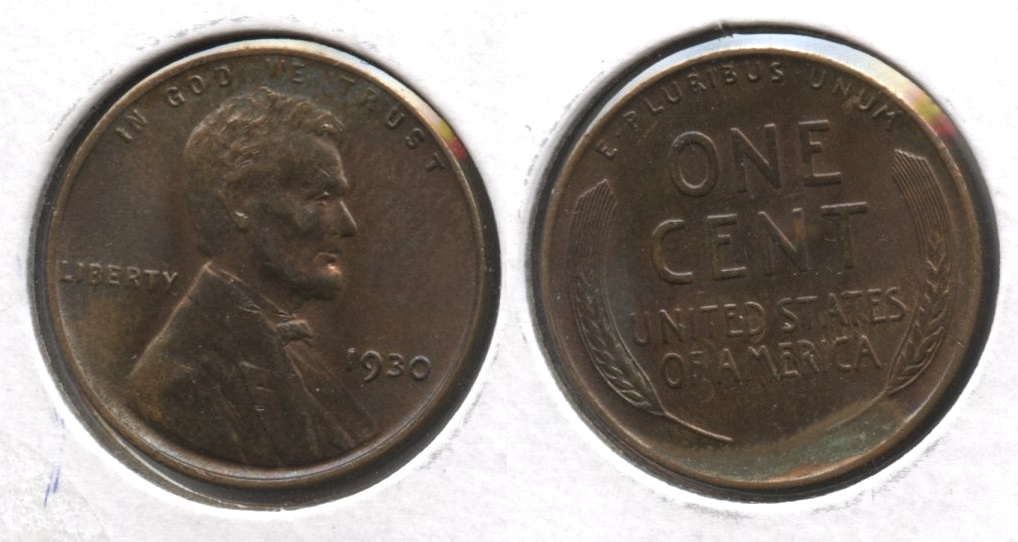 1930 Lincoln Cent MS-60 Brown Some Green #b