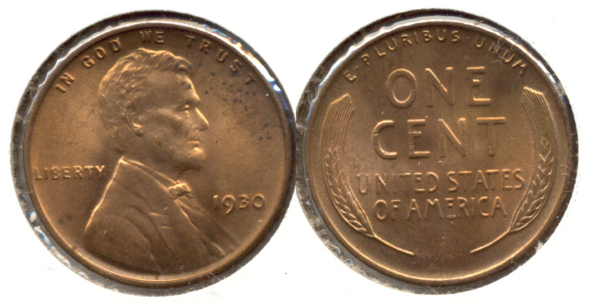 1930 Lincoln Cent MS-60 Red Brown e