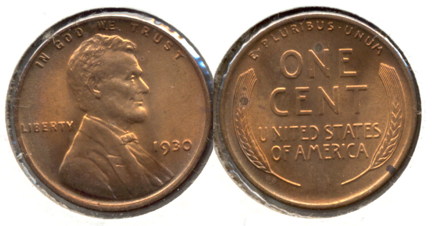 1930 Lincoln Cent MS-60 Red Brown f