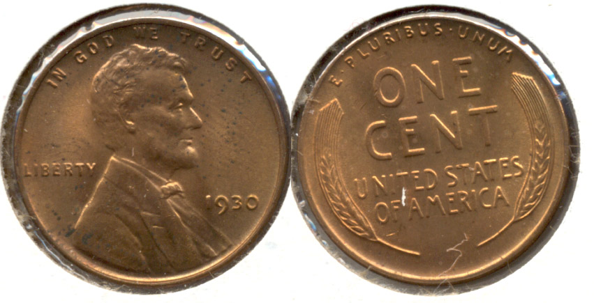 1930 Lincoln Cent MS-60 Red Brown g
