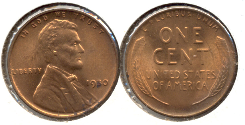 1930 Lincoln Cent MS-60 Red a
