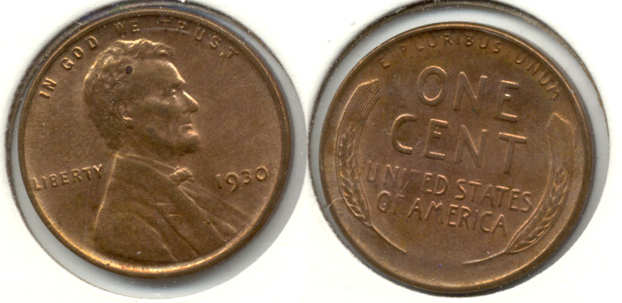 1930 Lincoln Cent MS-63 Red Brown