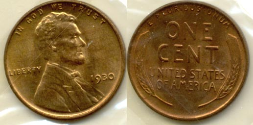 1930 Lincoln Cent MS-63 Red Brown a