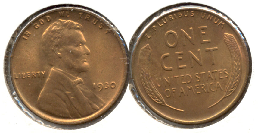 1930 Lincoln Cent MS-63 Red Brown ab