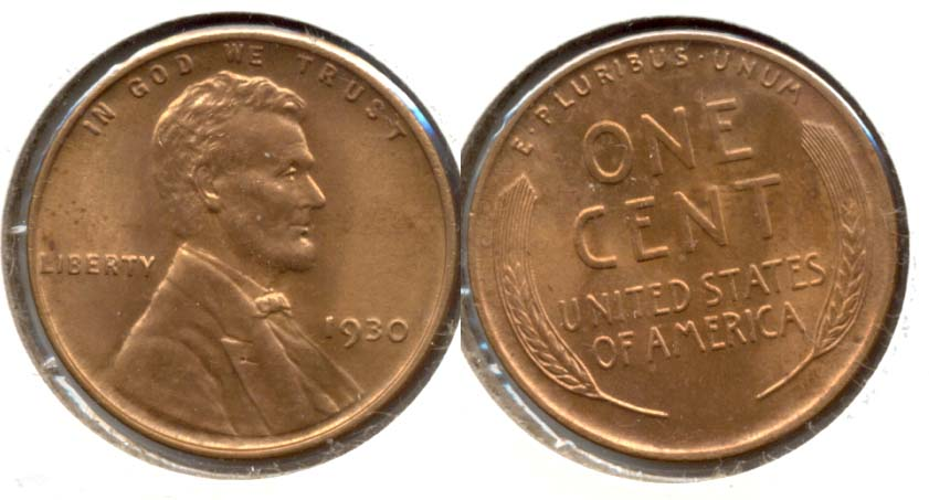 1930 Lincoln Cent MS-63 Red Brown b