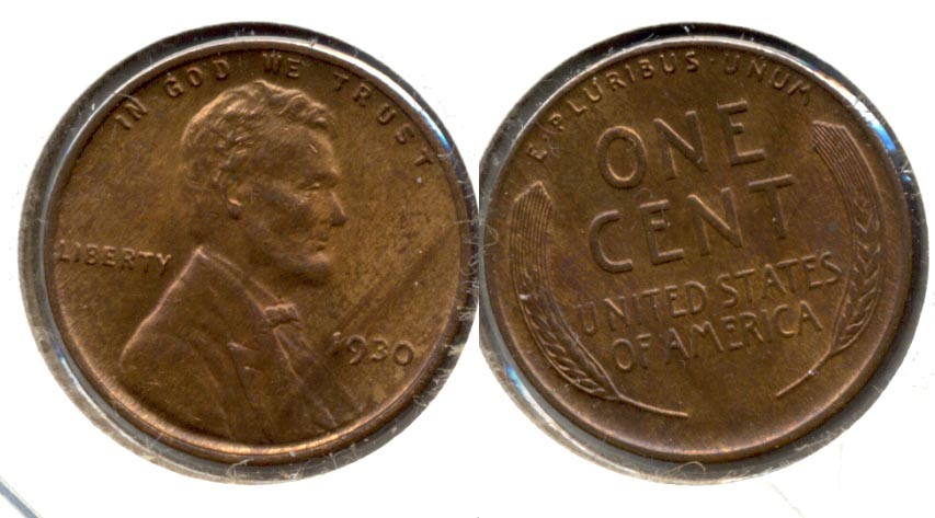 1930 Lincoln Cent MS-63 Red Brown d