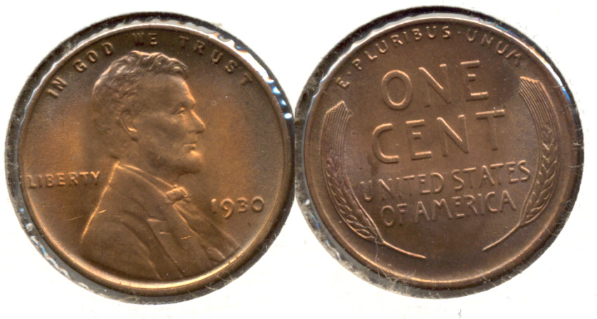 1930 Lincoln Cent MS-63 Red Brown m