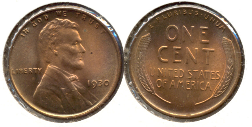 1930 Lincoln Cent MS-63 Red Brown n