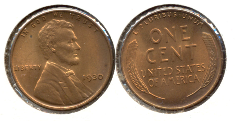 1930 Lincoln Cent MS-63 Red Brown o