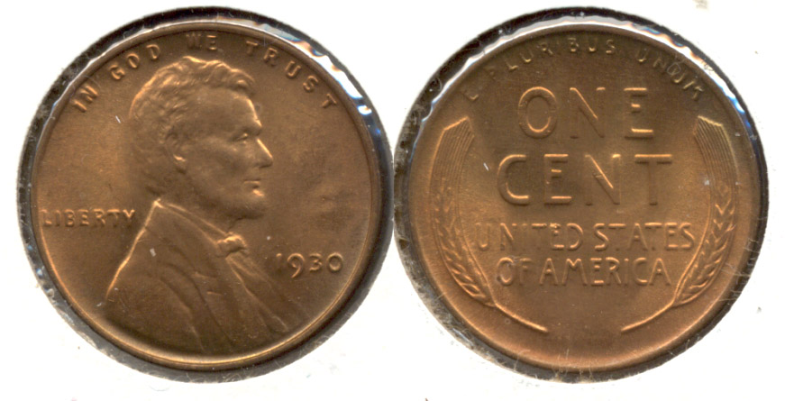 1930 Lincoln Cent MS-63 Red Brown s