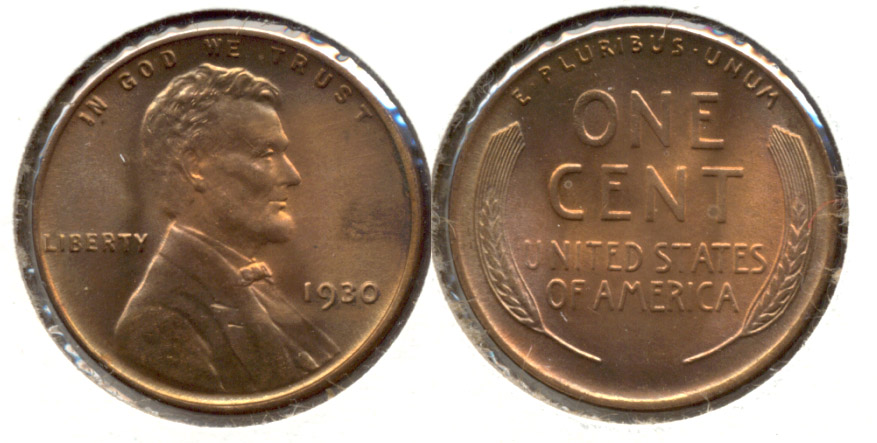 1930 Lincoln Cent MS-63 Red Brown t
