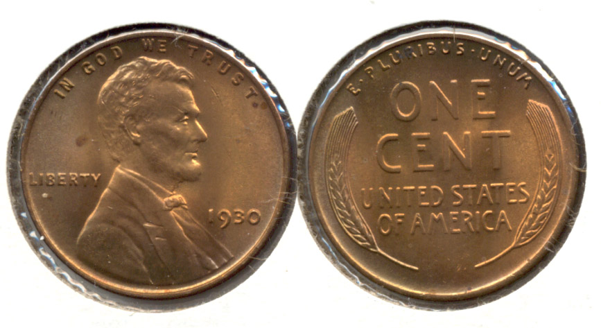 1930 Lincoln Cent MS-63 Red Brown v