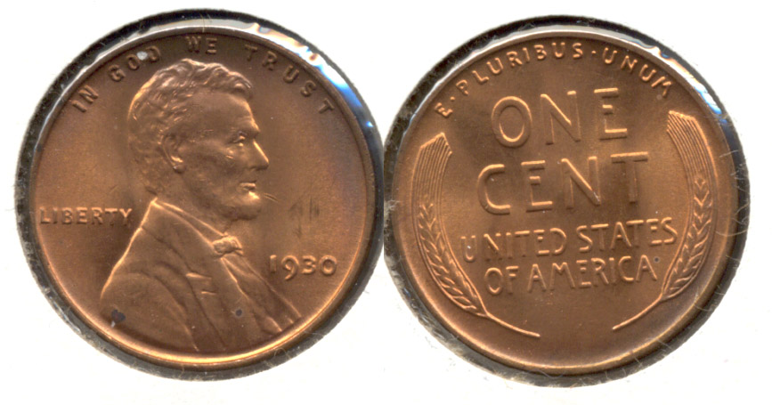 1930 Lincoln Cent MS-63 Red Brown w