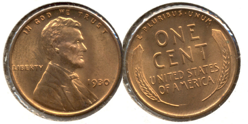 1930 Lincoln Cent MS-63 Red