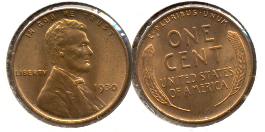 1930 Lincoln Cent MS-63 Red a