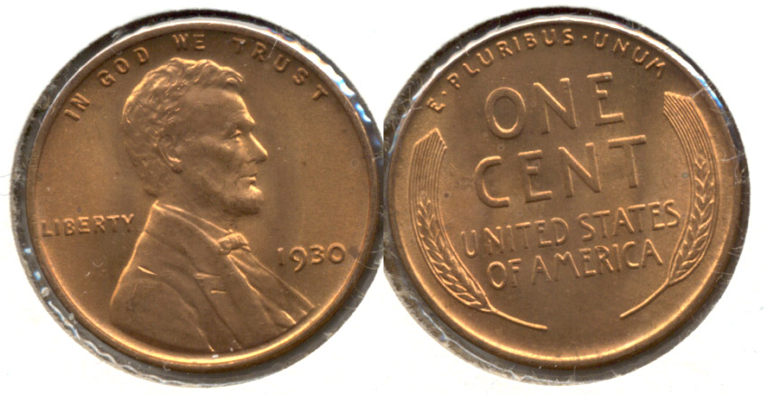 1930 Lincoln Cent MS-63 Red d