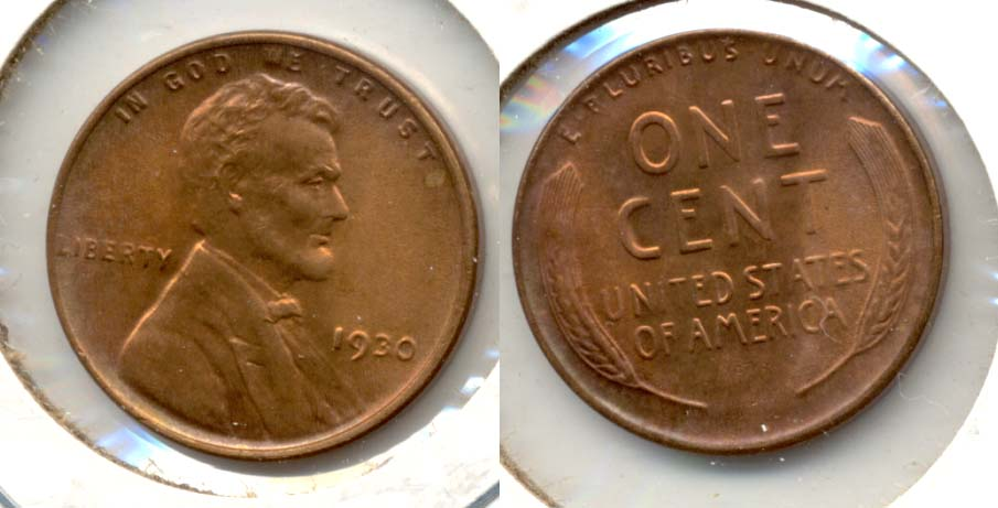 1930 Lincoln Cent MS-64 Red Brown
