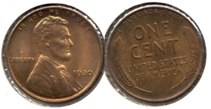 1930 Lincoln Cent MS-64 Red Brown d