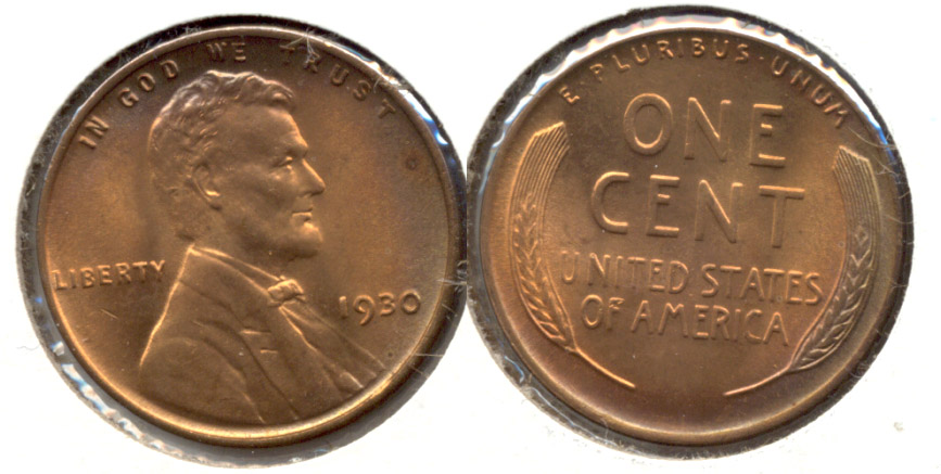 1930 Lincoln Cent MS-64 Red Brown e