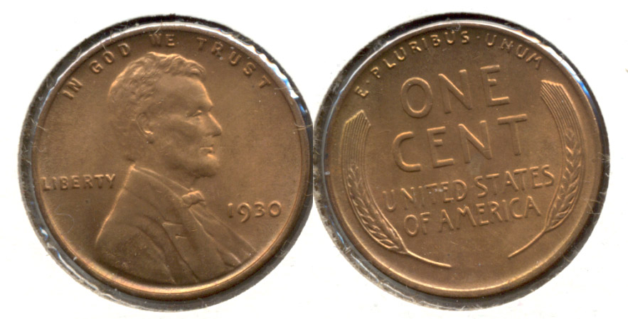 1930 Lincoln Cent MS-64 Red Brown f